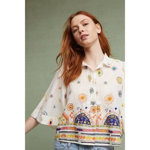 Anthropologie Maeve Eliot Printed Popover Blouse S